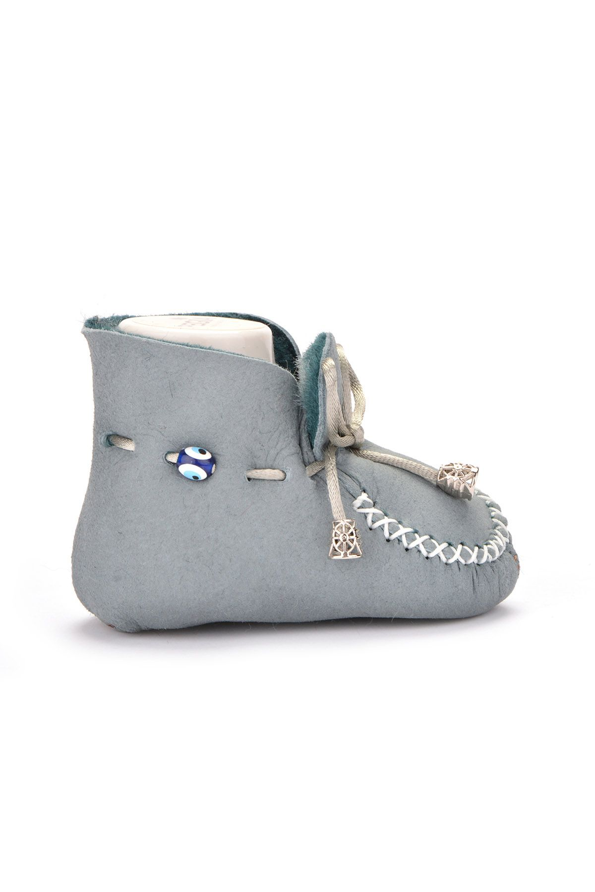 Pegia Laced Kids Booties From Genuine Fur Gray