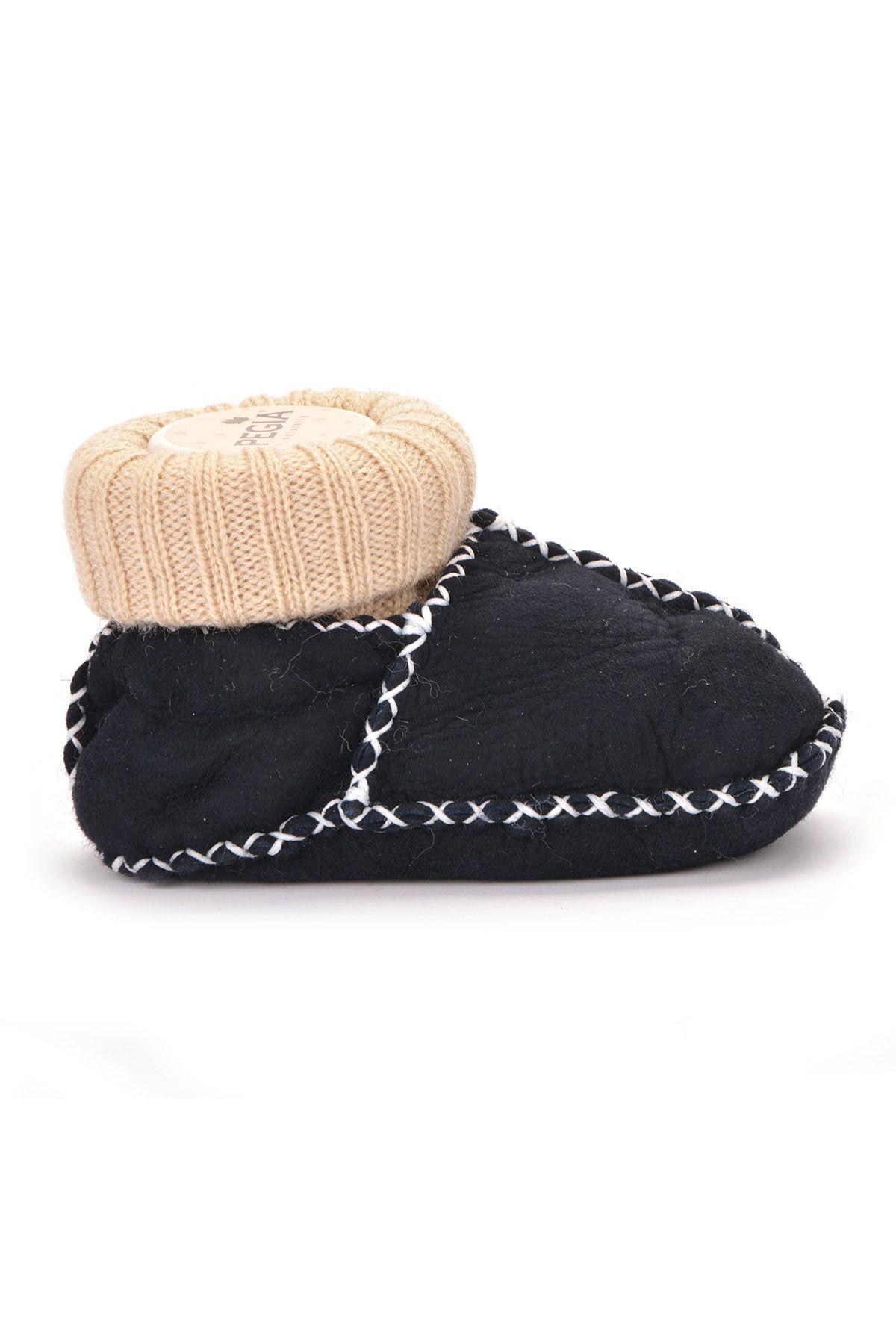 Pegia Hakiki Kürklü Çoraplı Bebek Patiği 141006 Füme