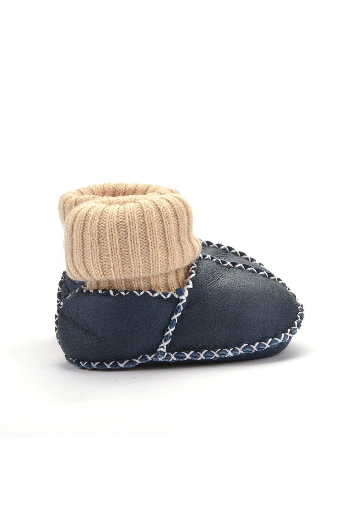 Pegia Hakiki Kürklü Çoraplı Bebek Patiği 141006 Lacivert