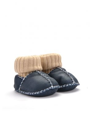 Pegia Kids Booties From Genuine Fur Navy blue
