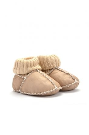 Pegia Kids Booties From Genuine Fur Cream