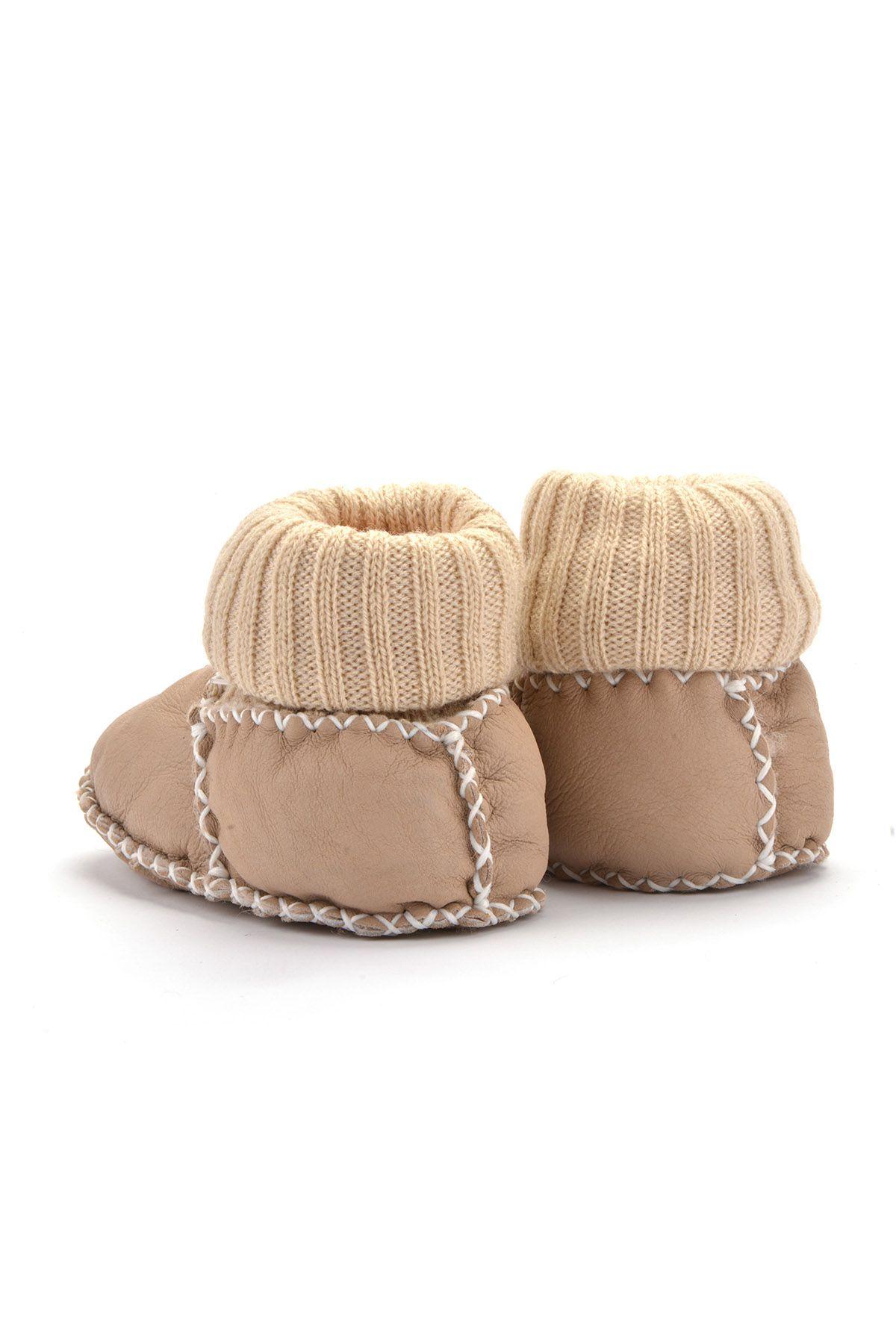 Pegia Hakiki Kürklü Çoraplı Bebek Patiği 141006 Krem