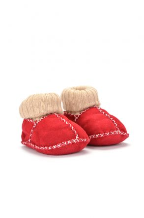 Pegia Kids Booties From Genuine Fur Red