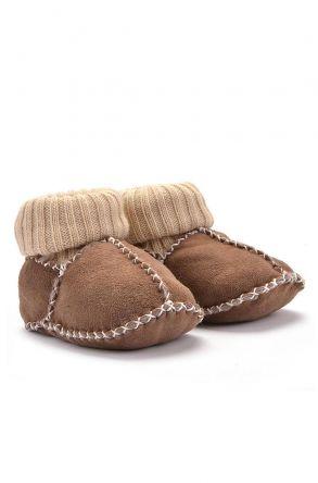 Pegia Hakiki Kürklü Çoraplı Bebek Patiği 141006 Açık Kahve