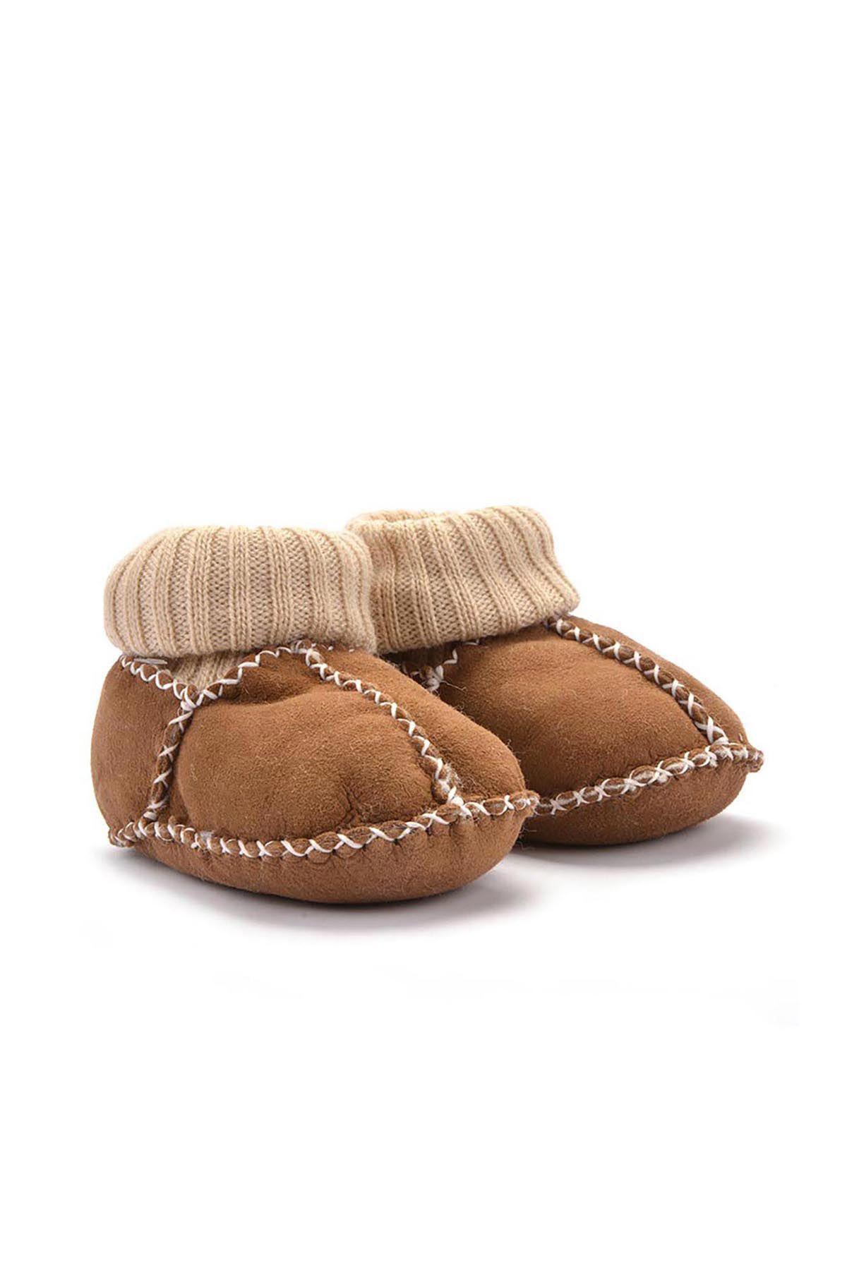 Pegia Hakiki Kürklü Çoraplı Bebek Patiği 141006 Kahve