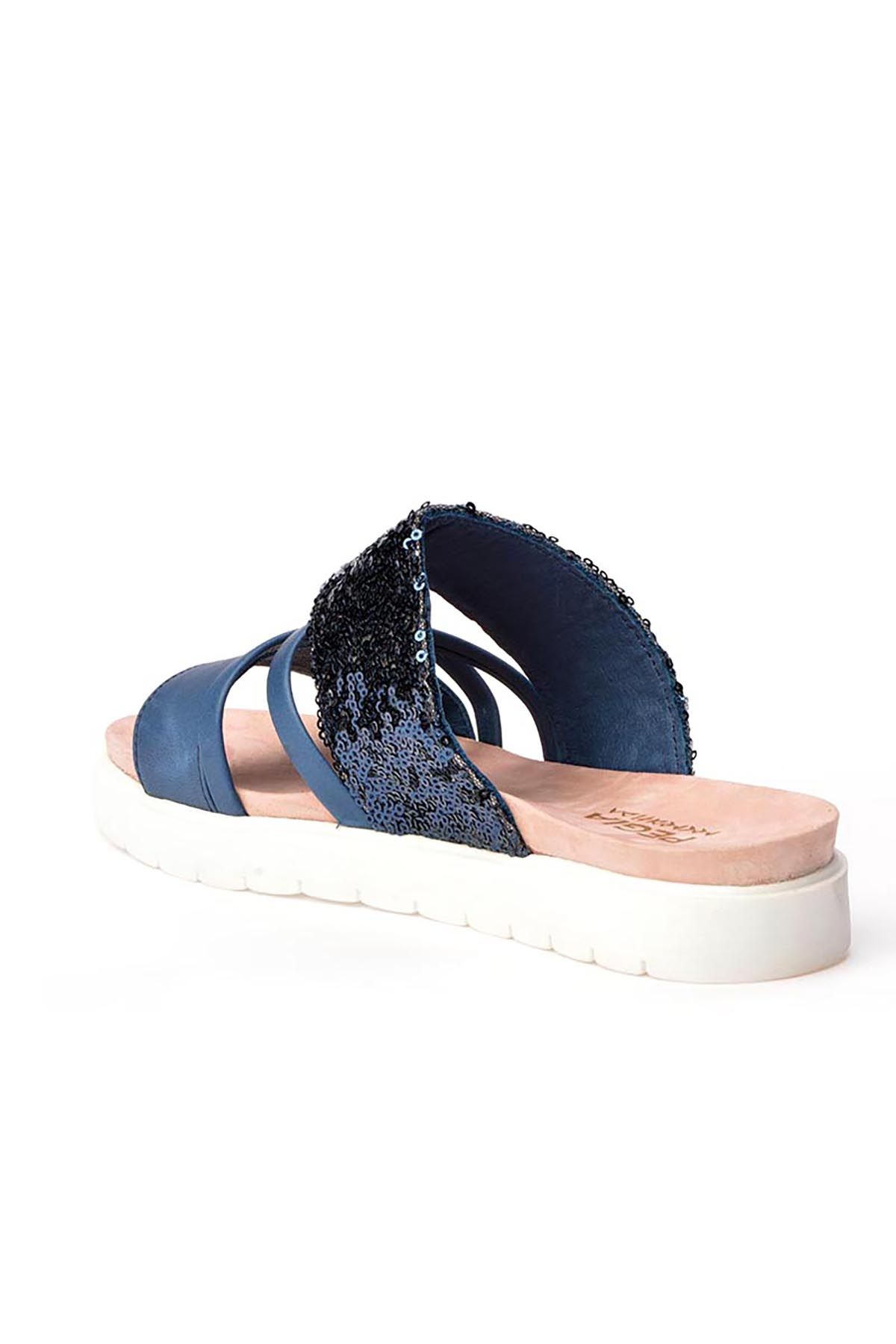 Pegia Alesia Women Slippers From Genuine Leather REC-005 Blue