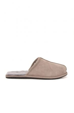 Pegia Men House Slippers From Genuine Fur Gray