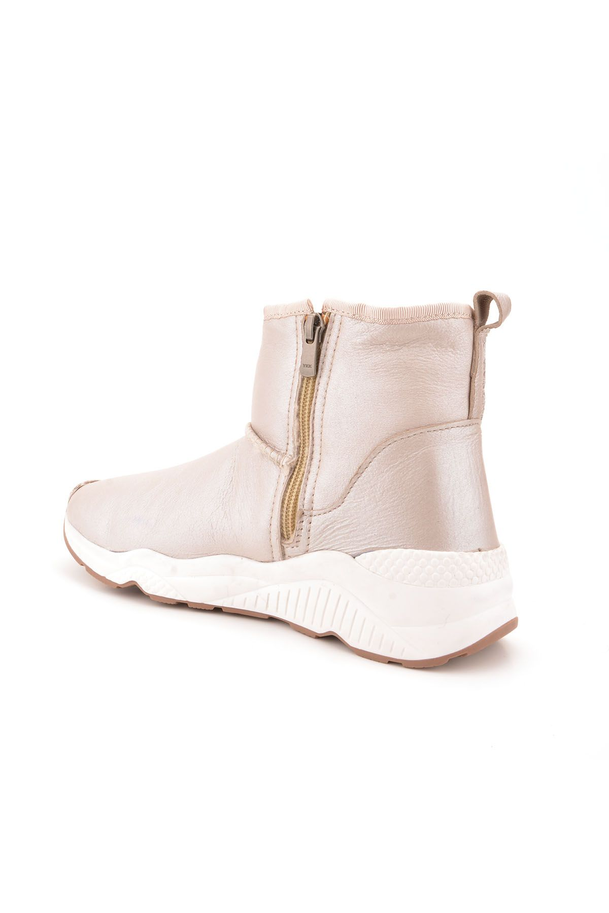 Pegia Women Boots From Genuine Fur With Side Zip 157401 Beige