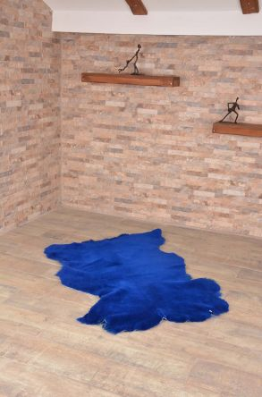 Erdogan Deri Decorative Sheepskin Rug Blue