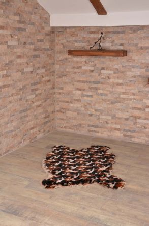 Erdogan Deri Decorative Sheepskin Rug With Camouflage Pattern Brown