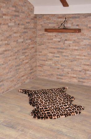 Erdogan Deri Decorative Sheepskin Rug With Leopard Pattern Natural
