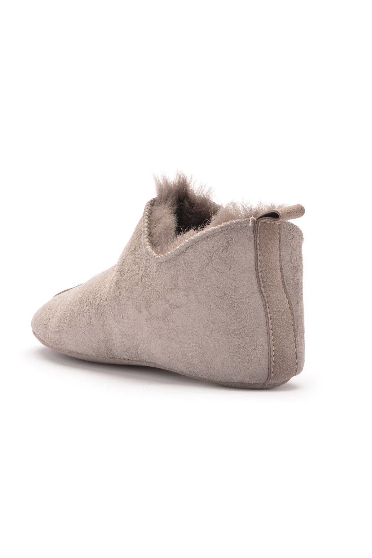 Pegia Hakiki Kürk Bayan Ev Ayakkabısı 101297 Açık Gri