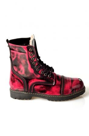 Pegia Aged Women Boots From Polished Leather And Genuine Fur 980359 Magenta