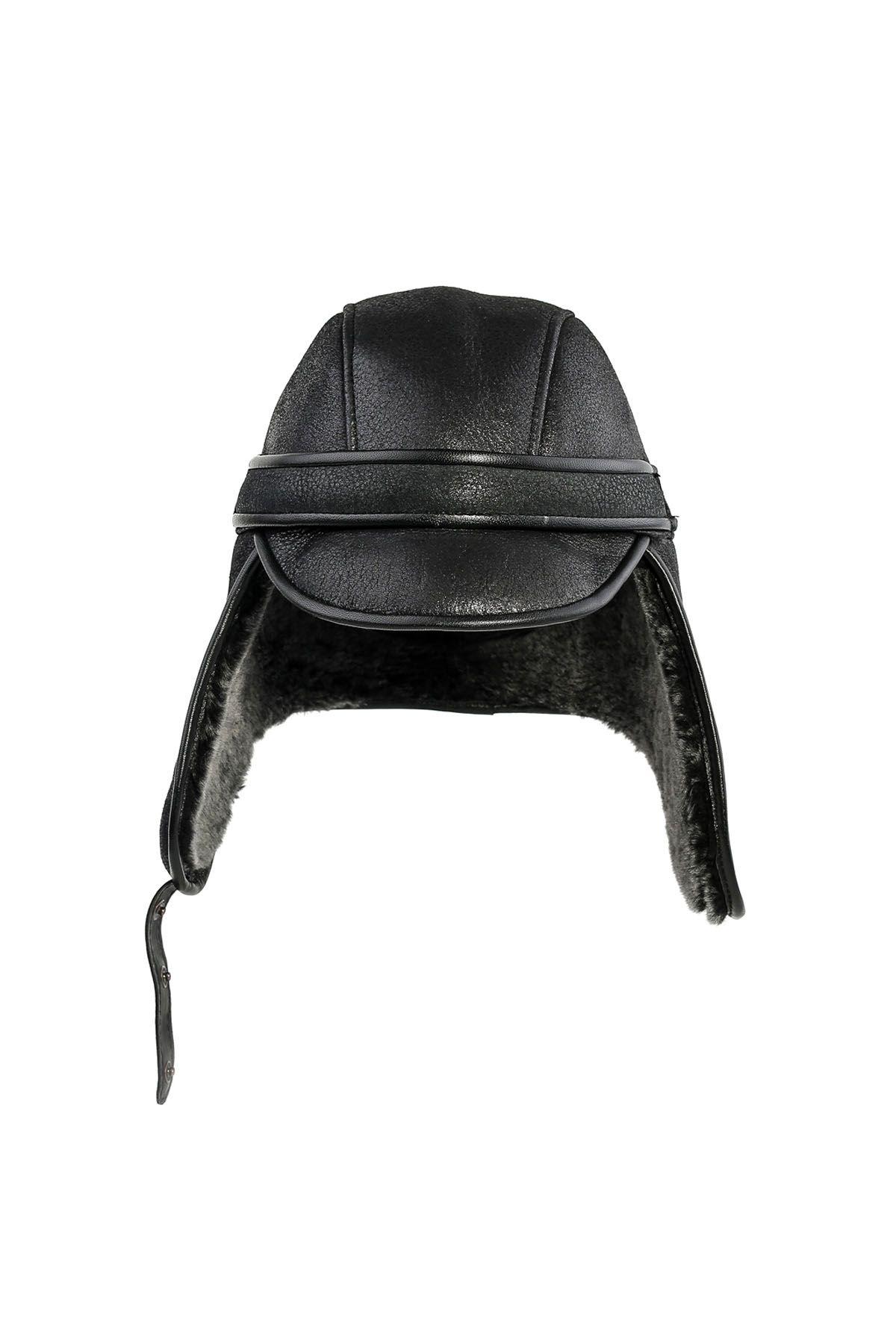 Pegia Hakiki Deri İçi Kürk Pilot Şapka 18AS13 Siyah