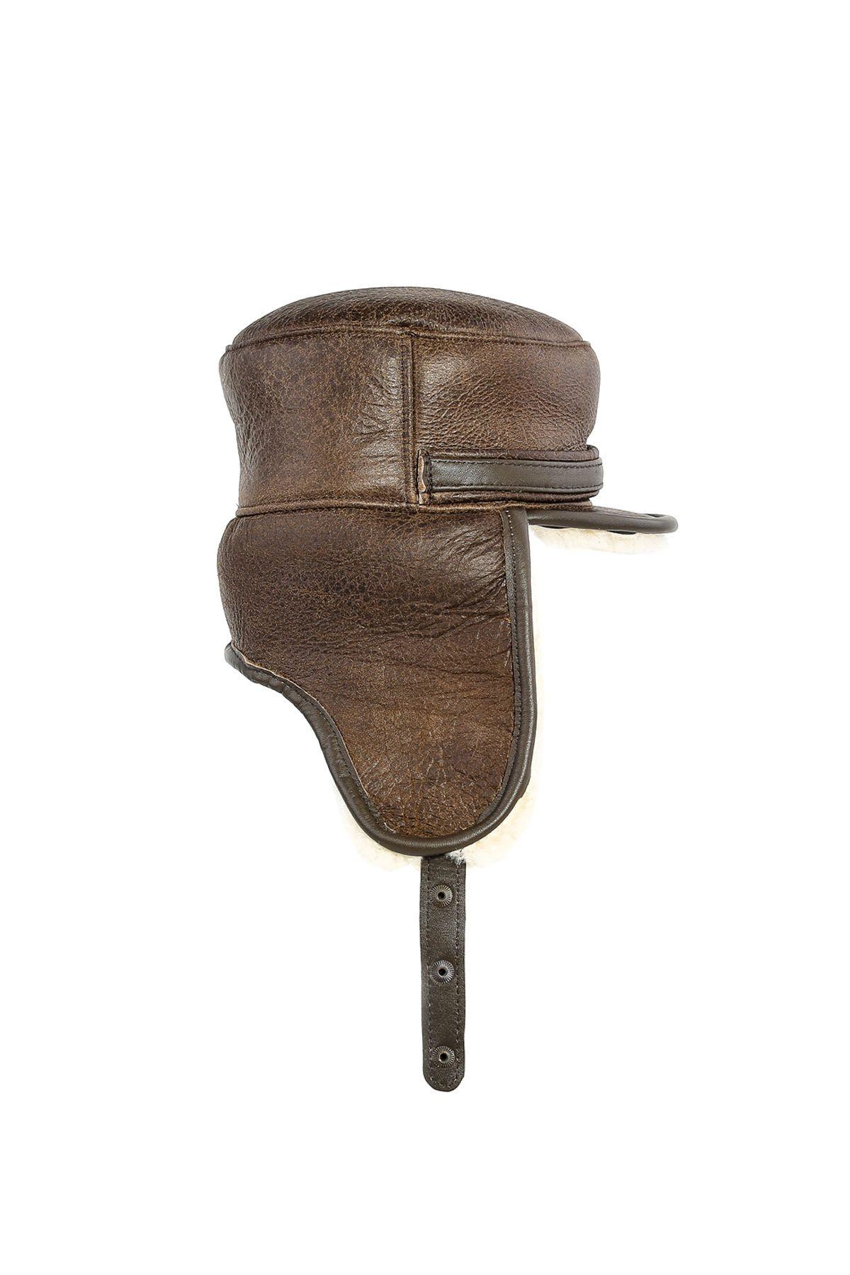 Pegia Hakiki Vintage Deri Kulaklıklı Şapka 18AS14 Kahve
