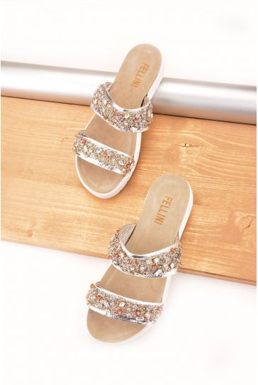 Fln Women Slippers From Genuine Leather Decorated With Stones Silver
