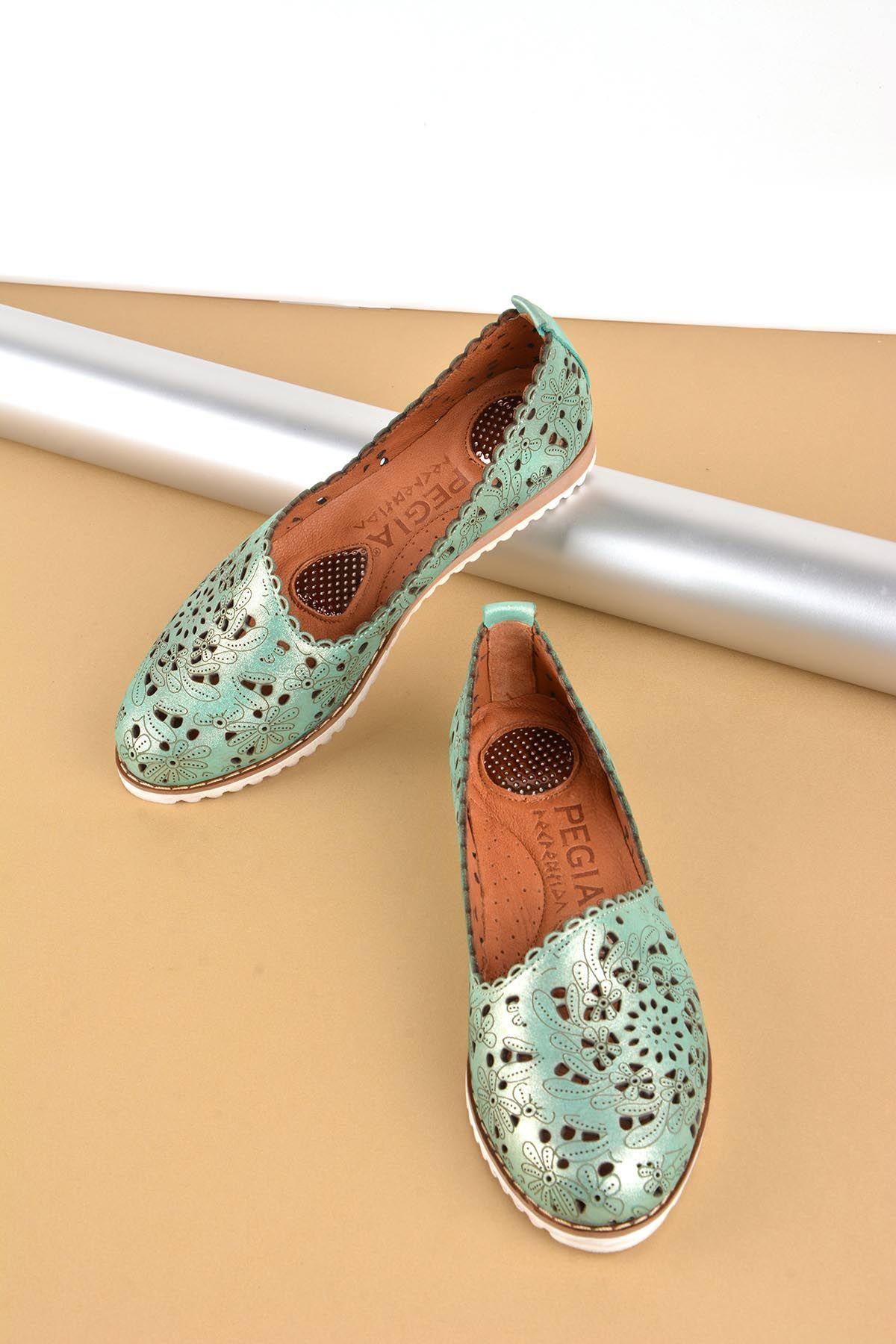 Pegia Hakiki Deri Bayan Ayakkabı REC-141 Yeşil