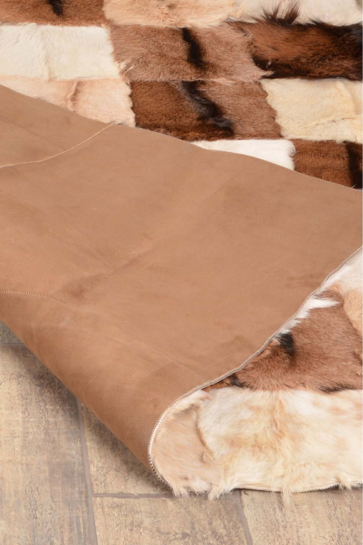 Dericibey Rug From Genuine Goat Skin Natural