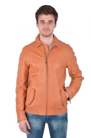 Pegia Men Leather Jacket Ginger