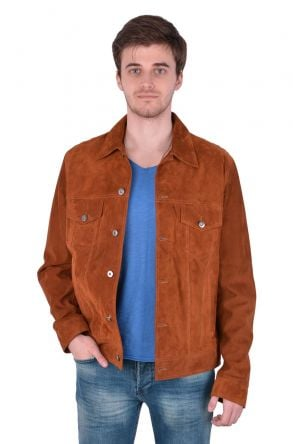 Pegia Men Suede Jacket Ginger