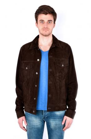 Pegia Men Suede Jacket Brown