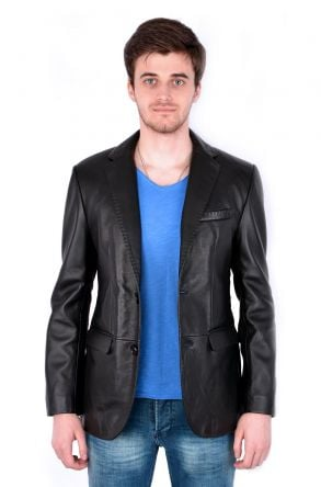 Pegia Classic Men Leather Jacket Black