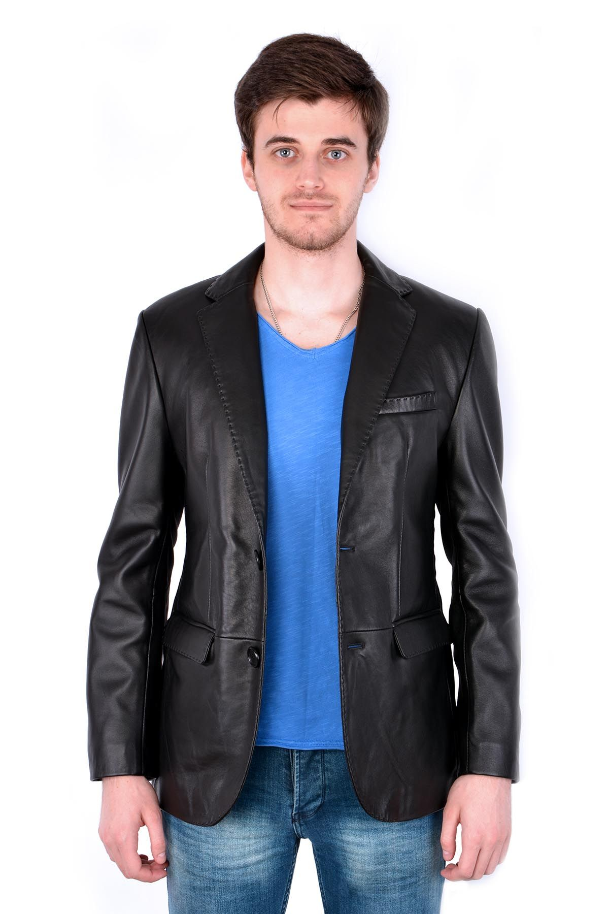 Pegia Hakiki Deri Klasik Erkek Ceket 17CE34 Siyah
