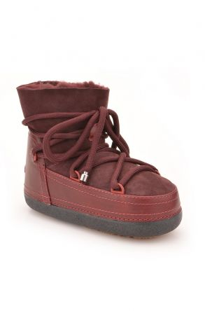 Cool Moon Women Snowboots From Genuine Fur Claret red
