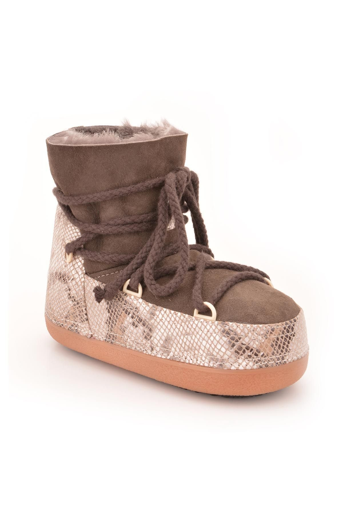 Cool Moon Women Moonboots From Genuine Sheepskin Fur Brown