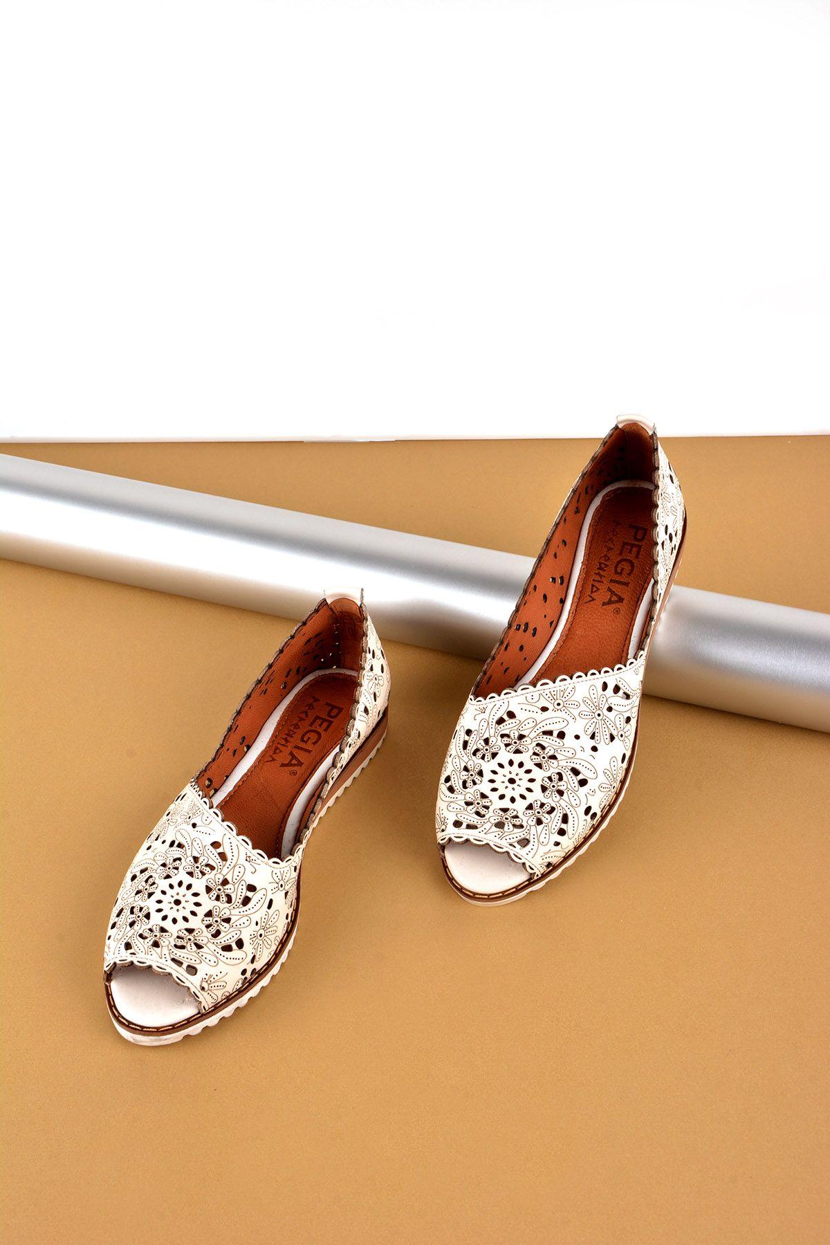 Pegia Hakiki Deri Önü Açık Bayan Ayakkabı REC-135 Beyaz