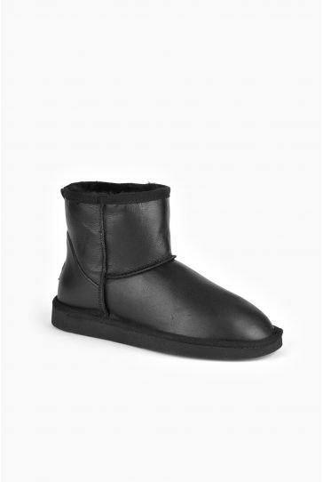 Pegia Short Women Boots From Genuine Leather And Sheepskin Fur 191022 Siyah