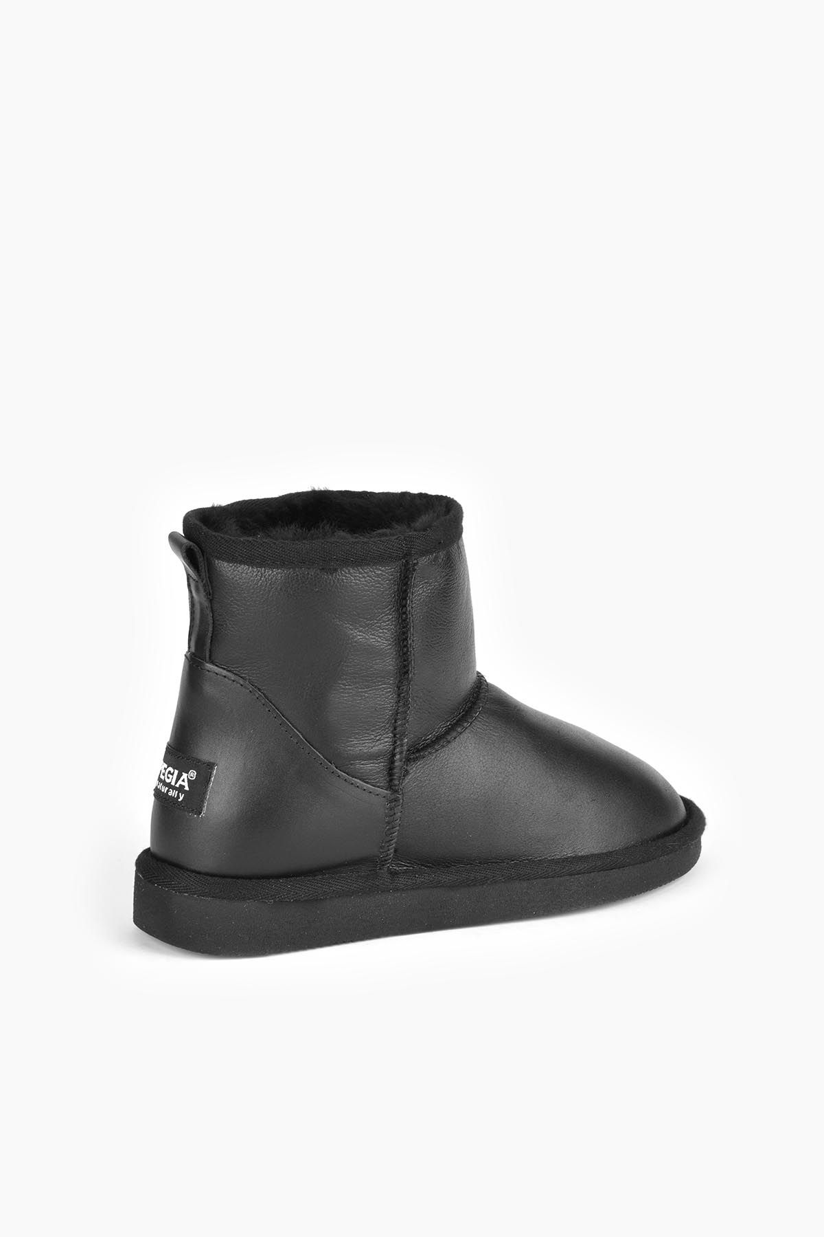 Pegia Short Women Boots From Genuine Leather And Sheepskin Fur 191022 Black