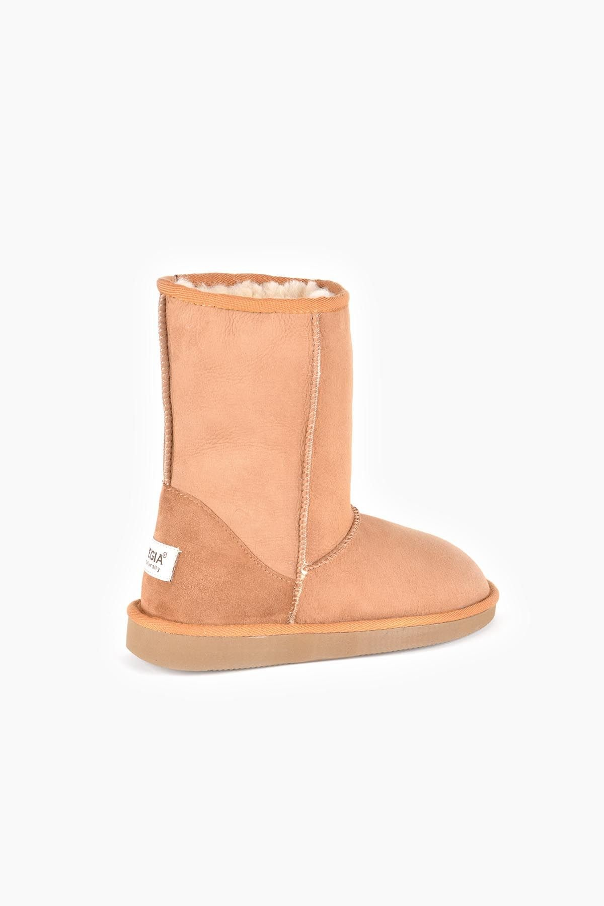 Pegia Classic Women Boots From Genuine Suede And Sheepskin Fur Ginger
