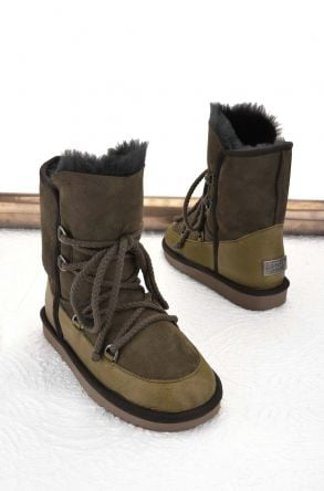 Pegia Laced Women Boots From Genuine Leather & Fur Light Green