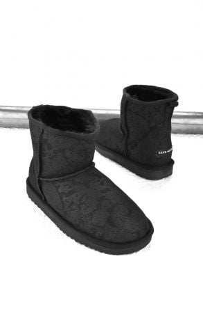 Cool Moon Women Boots From Genuine Sheepskin Fur Black