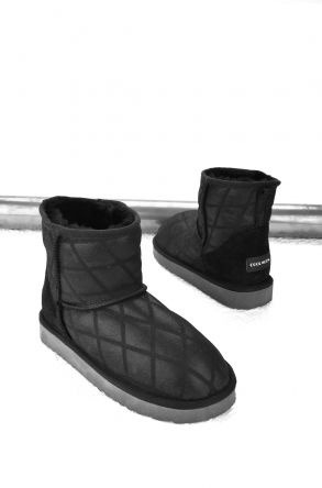 Cool Moon Women Boots From Genuine Sheepskin Fur 980212 Black