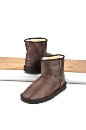 Cool Moon Women Boots From Genuine Sheepskin Fur 980176 Brown
