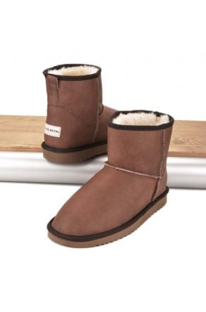 Cool Moon Women Boots From Genuine Sheepskin Fur 980261 Brown