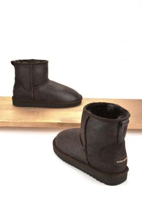 Cool Moon Women Boots From Genuine Sheepskin Fur 980336 Brown
