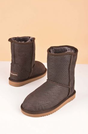 Cool Moon Classic Kids Boots From Genuine Fur Brown