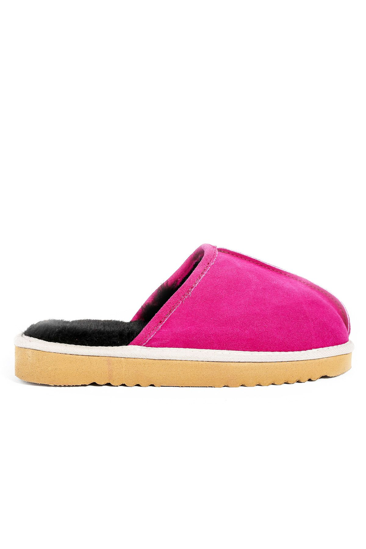 Pegia Women House-shoes From Genuine Suede & Fur Magenta