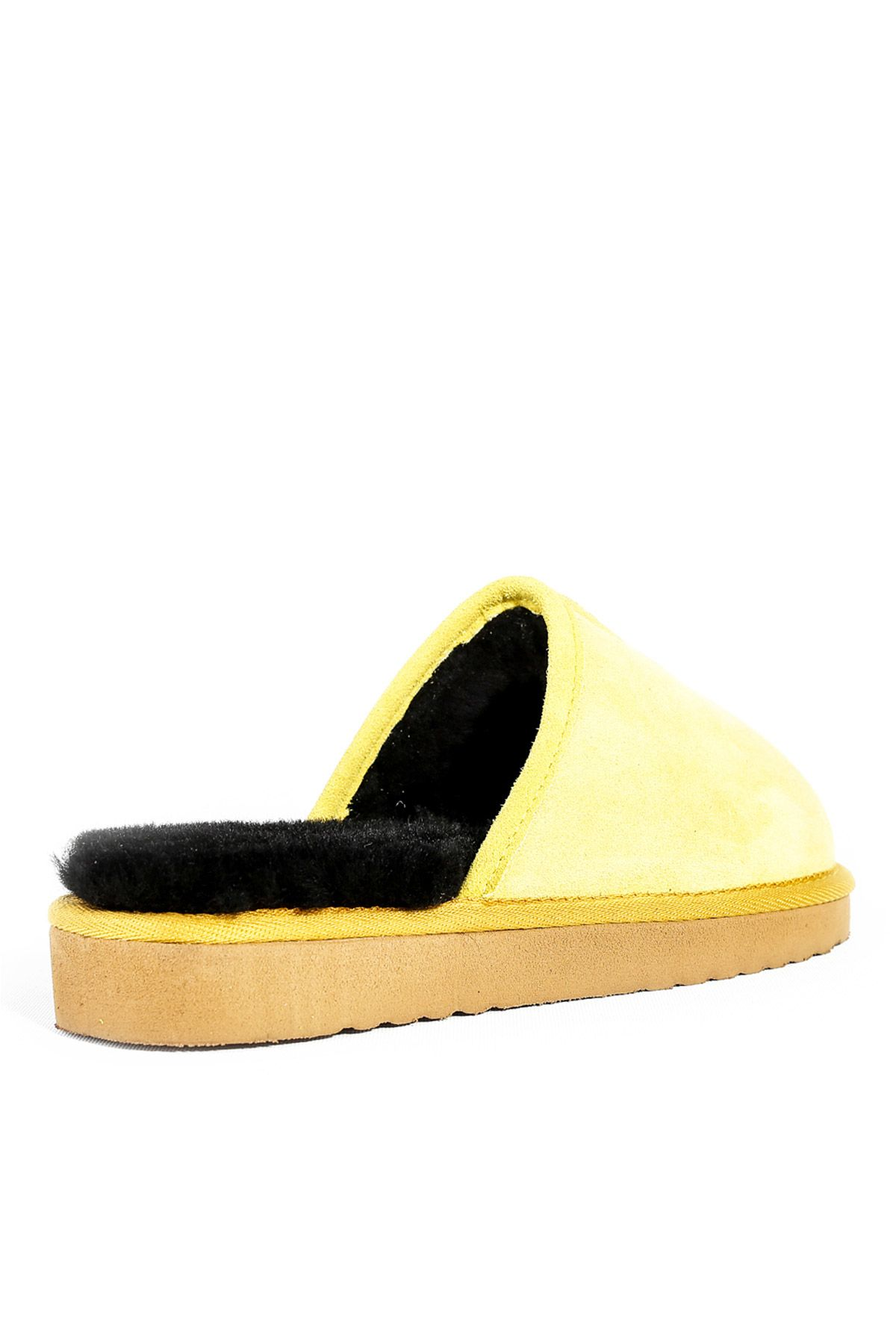 Pegia Women House-shoes From Genuine Suede & Fur Yellow