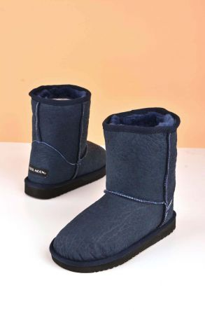 Cool Moon Classic Kids Boots From Genuine Fur Navy blue