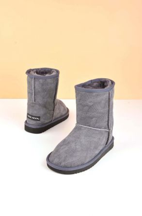 Cool Moon Classic Kids Boots From Genuine Fur Gray