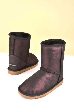 Cool Moon Classic Kids Boots From Genuine Fur Claret red