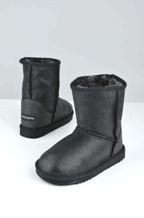 Cool Moon Classic Kids Boots From Genuine Fur Black
