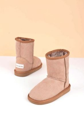 Cool Moon Classic Kids Boots From Genuine Fur Sand-colored