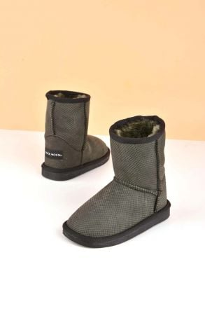 Cool Moon Classic Kids Boots From Genuine Fur Green