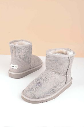 Cool Moon Women Boots From Genuine Sheepskin Fur 980347 Beige