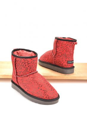 Cool Moon Women Boots From Genuine Sheepskin Fur 980007 Red